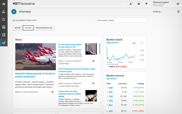 Screenshot of the market updates available through Panorama